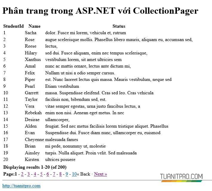 Phân trang ASP.NET với CollectionPager