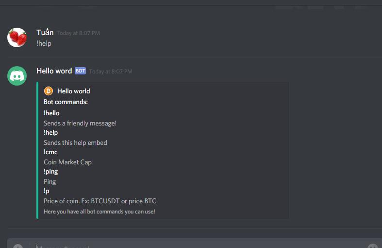 Tạo bot discord check giá coinmarketcap